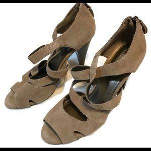 Ann Taylor Loft Tan Suede Strappy Sandals